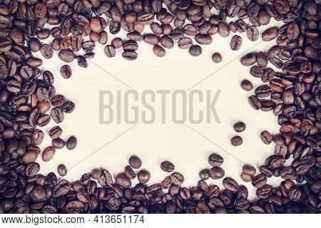 Coffee Beans On White Background. Top View Flat Lay Copy Space