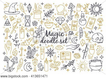 A Magical And Witchcraft Set Of Doodle Style Icons