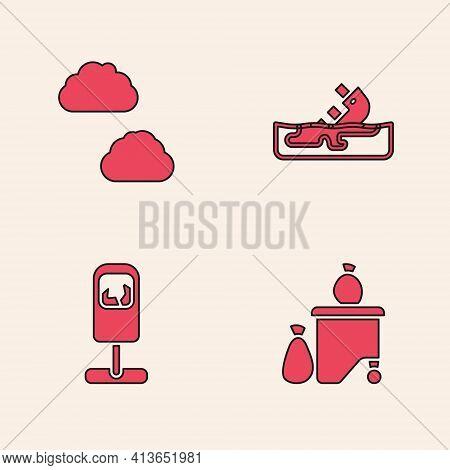 Set Full Dustbin, Cloud, Wrecked Oil Tanker Ship And Trash Can Icon. Vector