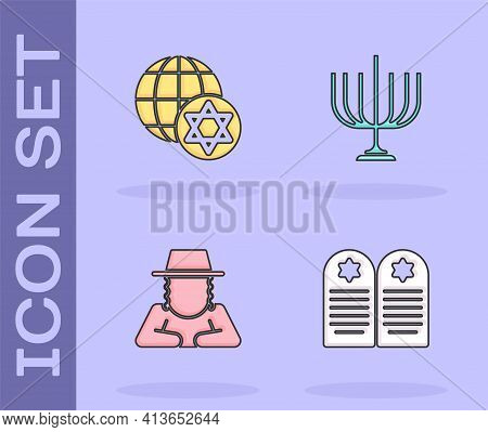 Set Tombstone With Star Of David, World Globe And Israel, Orthodox Jewish Hat And Hanukkah Menorah I