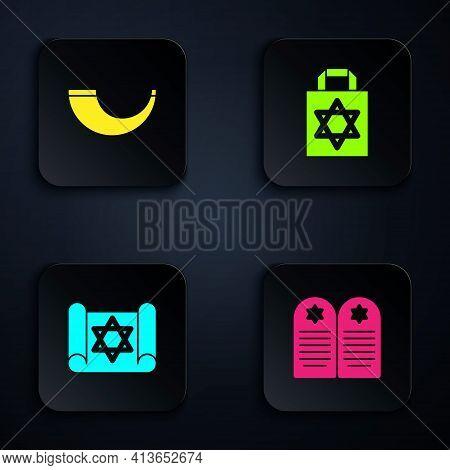 Set Tombstone With Star Of David, Traditional Ram Horn, Shofar, Torah Scroll And Shopping Bag. Black