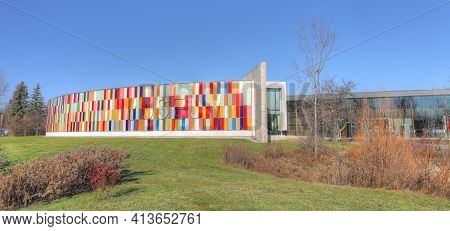 Kitchener, Ontario, Canada - November 6: A Panorama Of The Waterloo Region Museum  On [november 6, 2