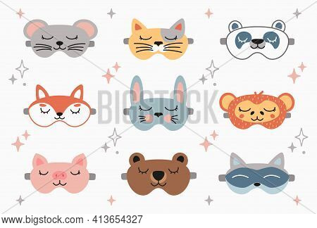 Animal Sleep Mask Set, Stock Vector Illustration. Panda, Bunny, Cat, Rabbit, Mouse, Fox, Bear, Racco