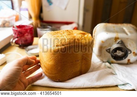Home Baked Bread. \rfreshly Made White Bread Is Removed From The Bread Pan