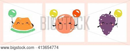 Kawaii Characters Of Melon, Grapefruit And Grapes. Cute Happy Fruits With Multicolored Balloons. Vec
