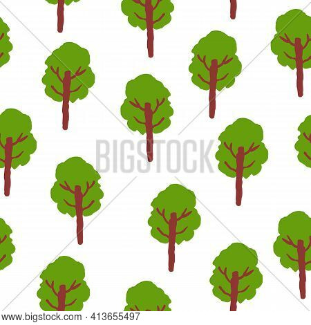 Vector Seamless Pattern With Green Deciduous Trees. Brown Trunk. White Background. Cartoon Style. Sp