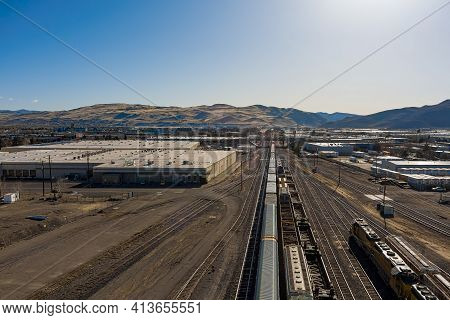 Sparks, Nevada Usa - March 21, 2021: Aerial View Of The Sparks, Nevada Industrial Area Facing East,