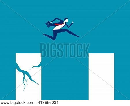 A Business Person Jumping From A Crisis Graph To A Stable Graph