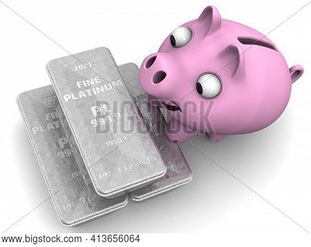 Profitable Financial Savings In Platinum. Three Ingots Of 999.9 Fine Platinum And One Happy Piggy Ba