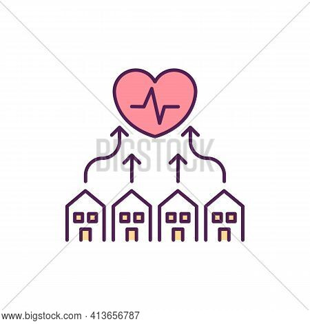 Equal Health Care Rgb Color Icon. Safe And Healthy Environment Creation. Cardiovascular Diseases Pre