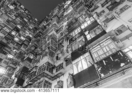 Old Apartment Building In Hong Kong At Night