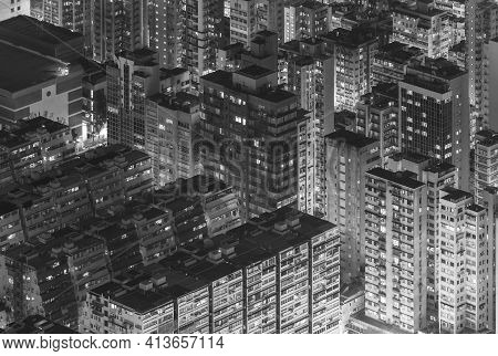 Night Scene Of Aerial View Of Hong Kong City