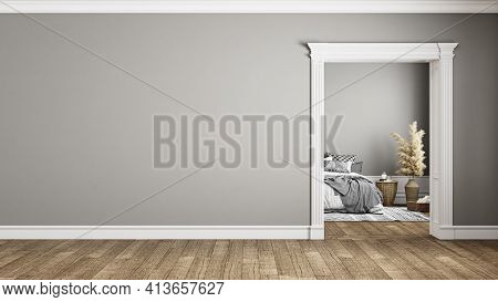 Gray Classic Interior With Blank Wall And Bedroom. 3d Render Illustration Mockup.