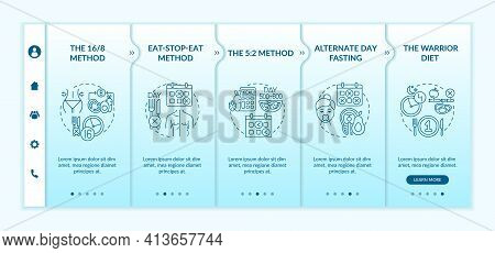 Intermittent Fasting Methods Onboarding Vector Template. Eat-stop-eat Method. Alternate Day Fasting.