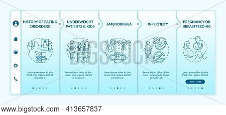Intermittent Fasting Precautions Onboarding Vector Template. Underweight Patients And Children. Resp