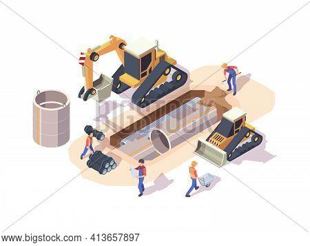 Pipeline Installation. Urban Work Machine Industrial Steel Pipe Installation Processes Garish Vector