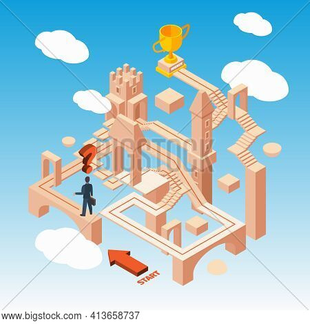 Business Maze. Businessmen With Idea Standing On Begining Of Hard Way Route In Building With Doors S