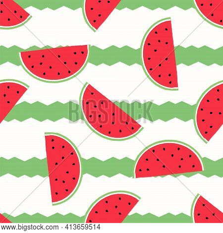 Watermelon Pattern. Vector Background With Watermelon Slices. With Green Abstract Zigzag Stripes