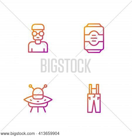 Set Line Pants With Suspenders, Ufo Flying Spaceship, Nerd Geek And Energy Drink. Gradient Color Ico