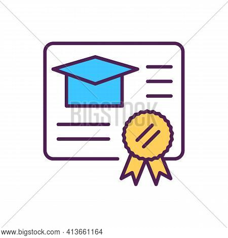 Academic Degree Rgb Color Icon. University Student Diploma. Official Document Of Professional Expert