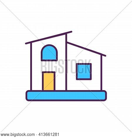 Home Rgb Color Icon. Residential Estate. House For Dwelling. Hotel In City. Property For Living. Sub