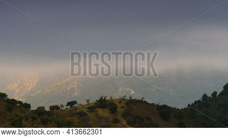 Cloudy Mountains Nature Landscape In Andalucia Spain
