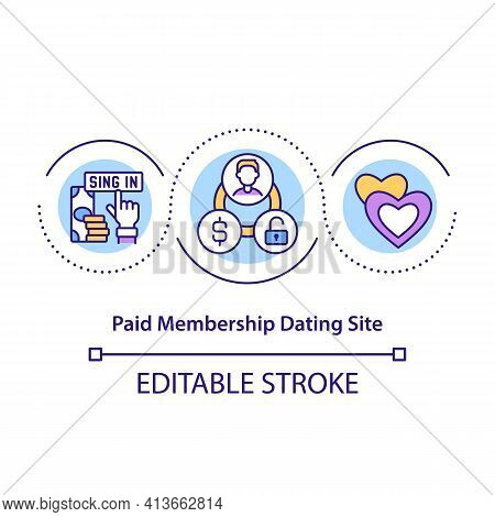 Paid Membership Dating Site Concept Icon. Paying Money To Find Someone Who Will Love You. Communicat