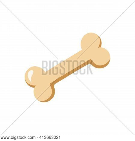 Bone Dog Isolated On White Background. Bone Icon Cartoon Style. Vector Stock
