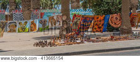 Swakopmund, Namibia - Jan 11, 2020: Local Craft Market In Swakopmund At The Promenade. Local Hand Ma