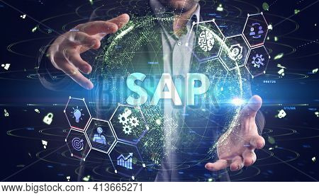 Sap System Software Automation Concept On Virtual Screen Data Center. Business, Modern Technology, I
