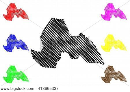 Lakes State (states Of South Sudan, Bahr El Ghazal Region) Map Vector Illustration, Scribble Sketch