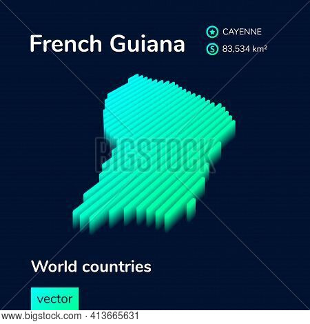 Stylized Neon Digital Isometric Striped Vector French Guiana Map, With 3d Effect.  Map Of French Gui