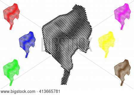 Blue Nile State (republic Of The Sudan, North Sudan) Map Vector Illustration, Scribble Sketch Blue N