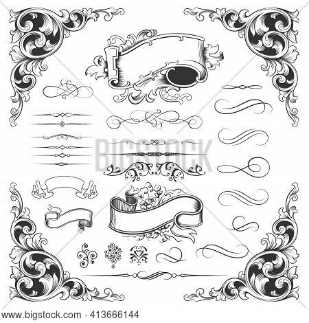 Vintage Frames And Borders On White Background. Retro Set Of Icons For Invitation - Congratulation A