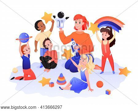 Children Playroom, Kids With Teacher Play In Kindergarten, Nursery Preschool Center