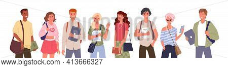 Student People Diversity Vector Illustration Set. Cartoon Young Multinational Group Of Man Woman Div