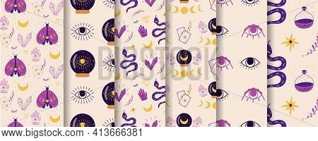 Magic Spiritual Pattern Set. Mystic Crystal Ball Seamless Pattern Fortune Eye Moth Moon Serpent Viol