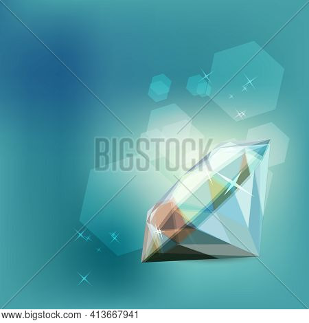 Realistic Brilliant On Blue Background. Template For Fashion, Wedding And Romantic Design