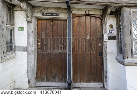 May 2015, Hastings, East Sussex, Uk -  Ancient Wooden Doors In The Old Town Of Hastings, East Sussex