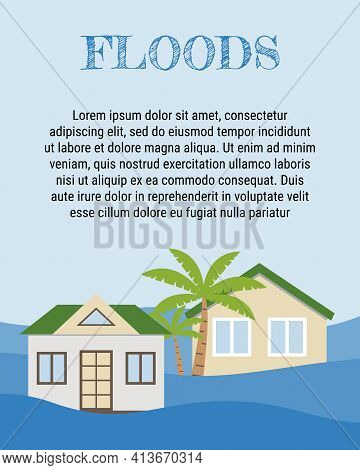 Houses Flooding Under Water Concept. Flood Natural Disaster With Rainstorm, Weather Hazard. Global W