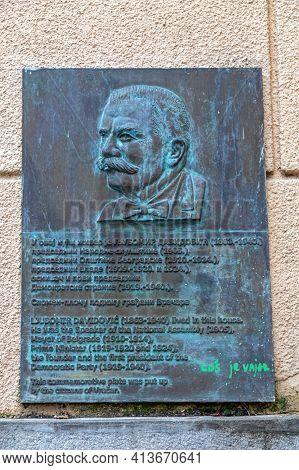 Belgrade, Serbia - February 11, 2021: Memorial Bronze Plaque Of Ljubomir Davidovic At Vracar Street