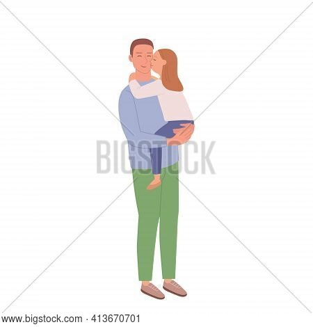 A Man Holds His Little Daughter In His Arms. A Little Girl Kisses Her Dad On The Cheek. Illustration