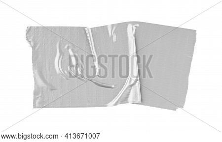 Close Up Of An Adhesive Tape On White Background. Strips Of Clear Masking Tape. Set Of Various Adhes