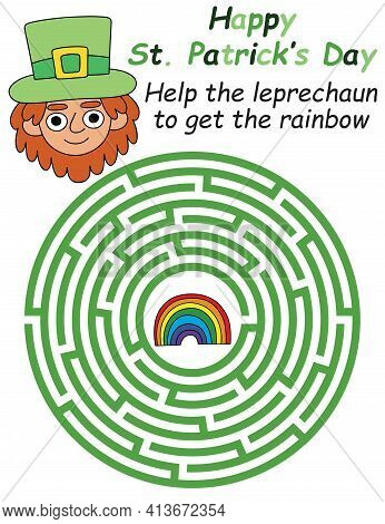 Happy Patrick's Day Labyrinth For Kids Stock Vector Illustration. Help The Leprechaun To Get The Rai