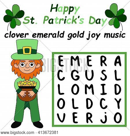 Saint Patrick's Day Word Search Puzzle Stock Vector Illustration. Funny Word Game With Little Leprec