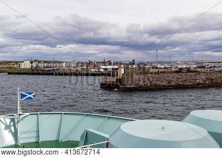 Ardrossan, North Ayrshire, Scotland, Uk - April 23, 2016: Aboard The Arran Ferry Approaching The Ard