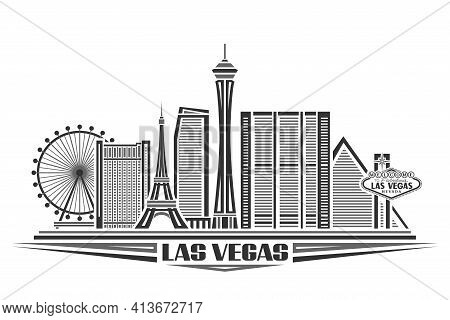 Vector Illustration Of Las Vegas, Monochrome Poster With Simple Design Buildings And Outline Landmar