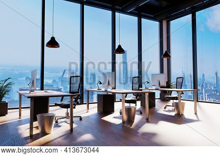 Large Modern Office With Computer Workplace And Skyline View; Conceptual Startup Company; 3d Illustr