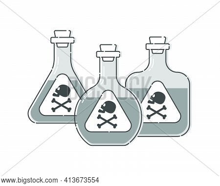 Group Of Three Forms Bottle Poison With Skull In Profile For Concept Design. Dangerous Container. Po