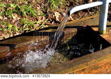 Splashing Water In A Fountain In Vaduz In Liechtenstein 17.2.2021